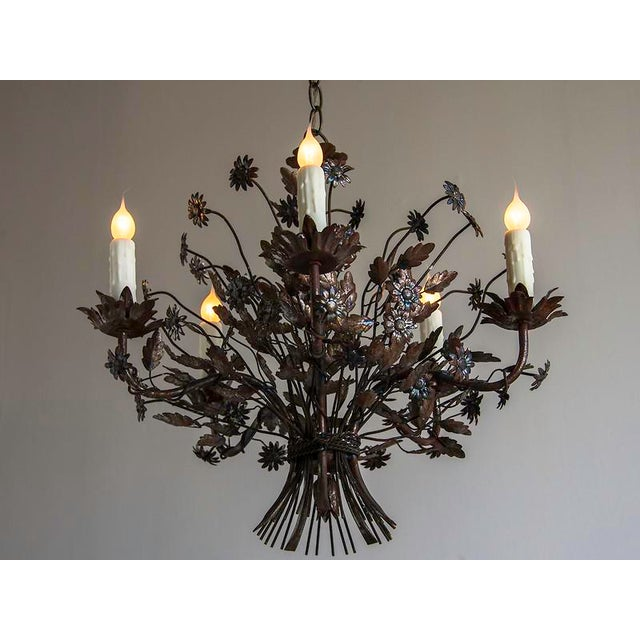 French 1940s Vintage Steel Floral Bouquet 5 Light Chandelier For Sale - Image 3 of 9