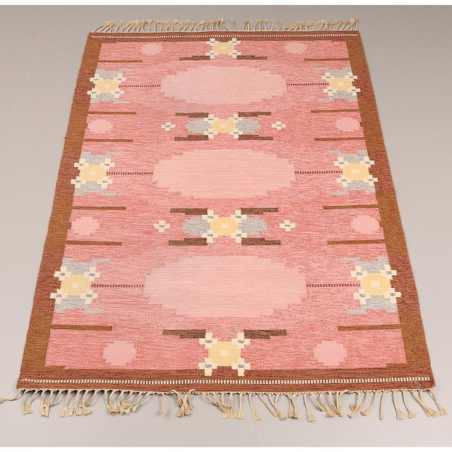 VintageIngegerd Silow Handwoven Swedish Flat Weave Rug - 5′7″ × 7′7″ - Image 2 of 5