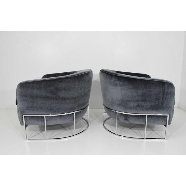 Milo Baughman Gray Velvet Club Chairs - a Pair For Sale In Dallas - Image 6 of 8