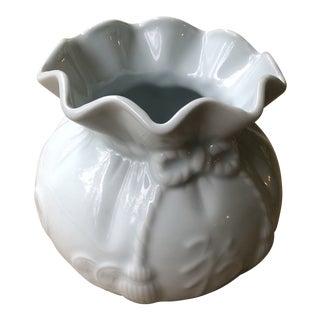 Antique Asian Celadon Color Money Bag/ Purse Vase For Sale