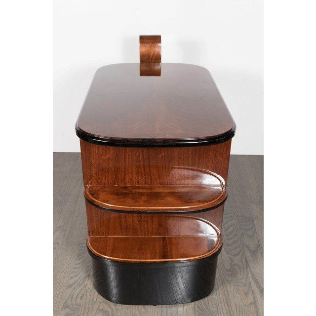 Streamlined Art Deco End Table or Dry Bar Cabinet in Book-Matched Exotic Walnut For Sale In New York - Image 6 of 10