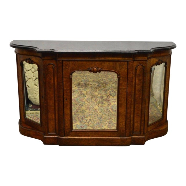 Antique 1800's Burl Walnut Mirrored Sideboard For Sale