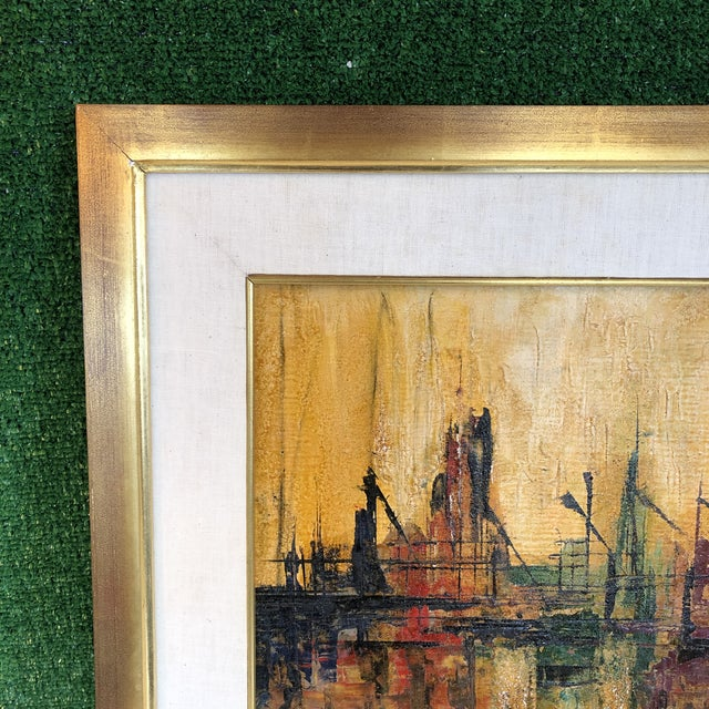 Mid-Century Modern Abstract Dock Scene For Sale - Image 3 of 13
