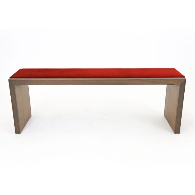 Walnut Bench With Red Velvet Upholstered Seat - Image 6 of 7