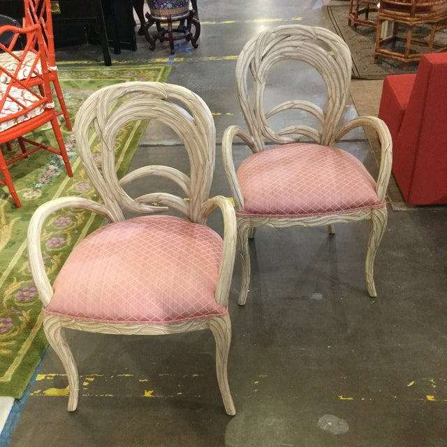 1990s Hollywood Regency Pink Upholstered Carved Occasional Chairs - a Pair For Sale - Image 4 of 4