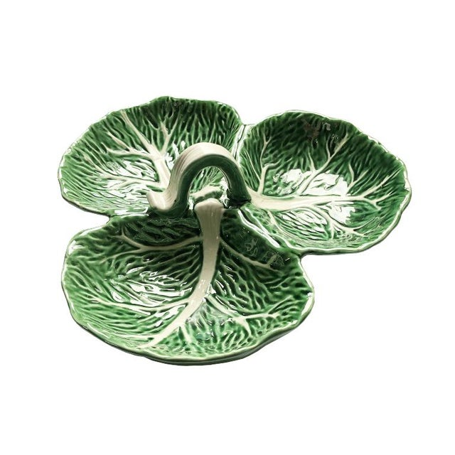 Green Magolica Cabbage Ware Condiment Serving Dish Tray With Knob For Sale - Image 6 of 6