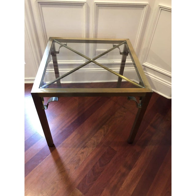 Metal Hollywood Regency Brass & Glass Accent Table For Sale - Image 7 of 9