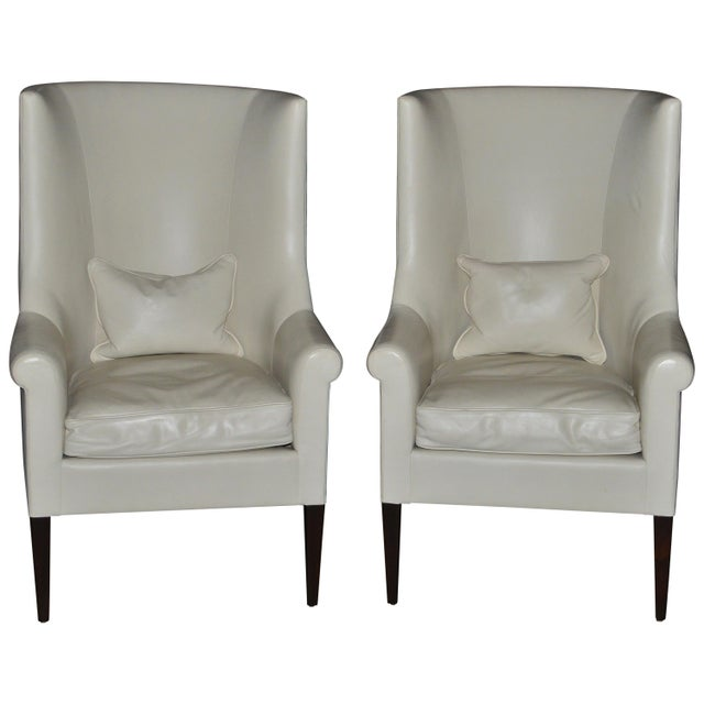 White Dessin Fournir Modern White Leather High Back Armchairs - a Pair For Sale - Image 8 of 8