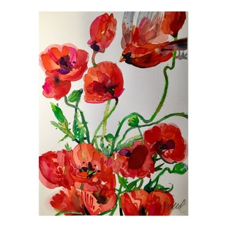 Red Poppy Cardinal Original Watercolor Painting For Sale