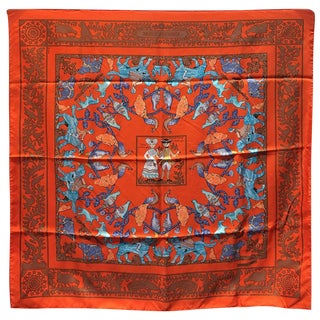 Hermes Early America Orange Silk Scarf For Sale