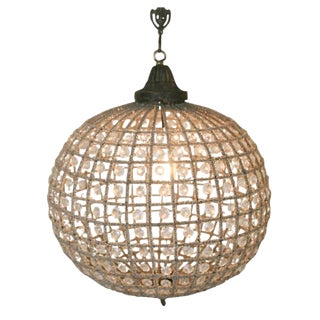 French Beaded Glass and Metal Globe Chandelier