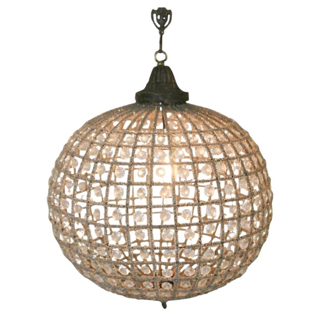 French Beaded Glass and Metal Globe Chandelier For Sale