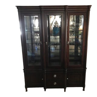 Transitional Mahogany China Cabinet For Sale