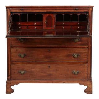 Antique 18c George III English Walnut Butler's Secretary Desk Chest For Sale