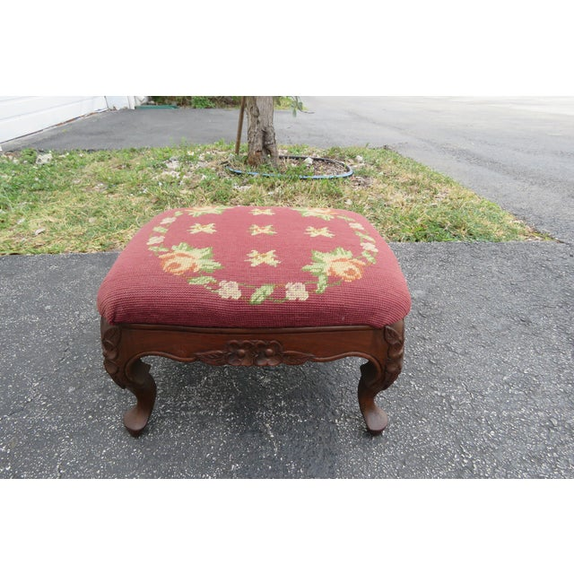 Wood French Carved Needlepoint Tapestry Small Ottoman Footstool Bench For Sale - Image 7 of 13