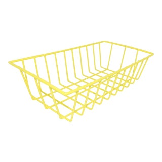 Contemporary Electric Yellow Metal Wire Bathroom Toiletries Basket For Sale