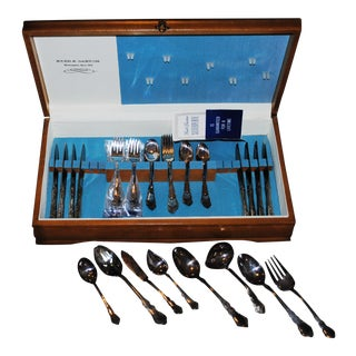 1953 Reed & Barton Silverplate Dresdan Rose Service for 8 Serving Pieces in Chest - 57 Pc. Set For Sale