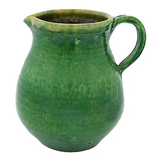 Antique French Green Glazed Terra Cotta Jug For Sale
