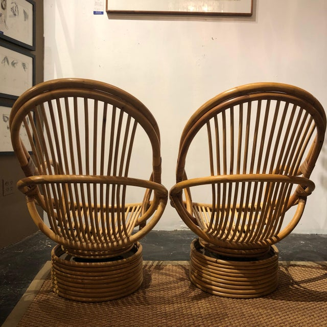 1980s Vintage Bamboo Swivel Chairs- a Pair For Sale - Image 4 of 13