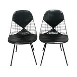 Image of 1960s Vintage Eames Herman Miller Dky-2 Black Bikini Chairs- a Pair For Sale