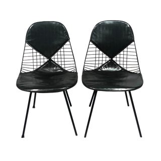 1960s Vintage Eames Herman Miller Dky-2 Black Bikini Chairs- a Pair For Sale