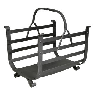 Arts & Crafts Wrought Iron Wood Holder For Sale