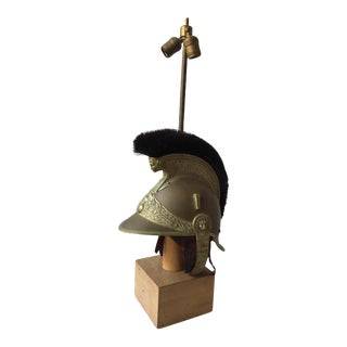 1840s French Fireman's Helmet Lamp on Base For Sale