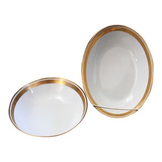 Renaissance Black on White Oval Vegetable Bowls by Fitz & Floyd - Set of Two For Sale