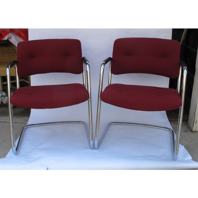Baughman Style Vintage Chrome Armchairs - A Pair - Image 2 of 6