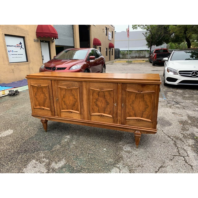 1940s French Solid Walnut Sideboard For Sale - Image 10 of 13