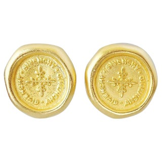 "1980s Givenchy Stamped ""Coin"" Logo Earrings For Sale"