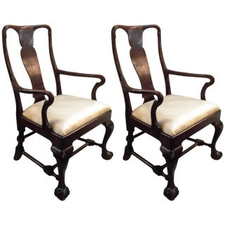 Antique Mahogany Armchairs - a Pair