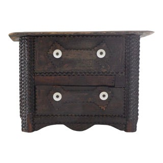 Antique Tramp Art Box With Drawers For Sale