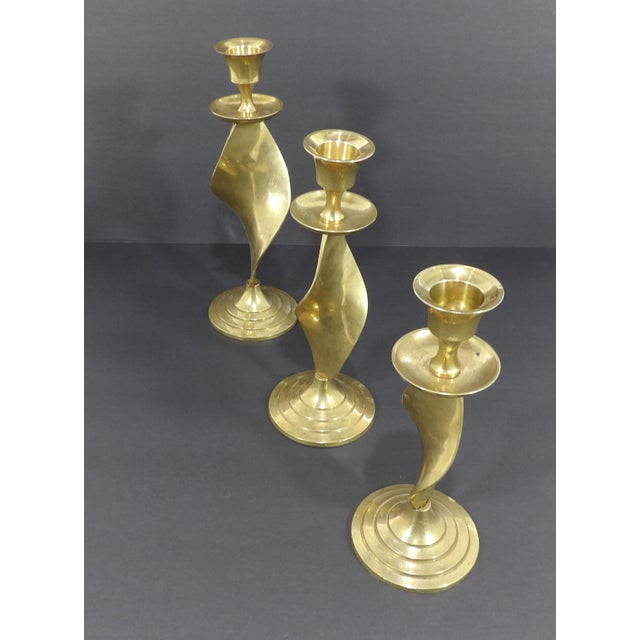 Gold Mid Century Modern Gatco Twisted Brass Candlesticks - Set of 3 For Sale - Image 8 of 10