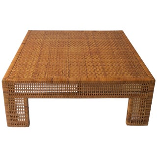 Large Wicker Rattan Coffee Table, Circa 1980s For Sale