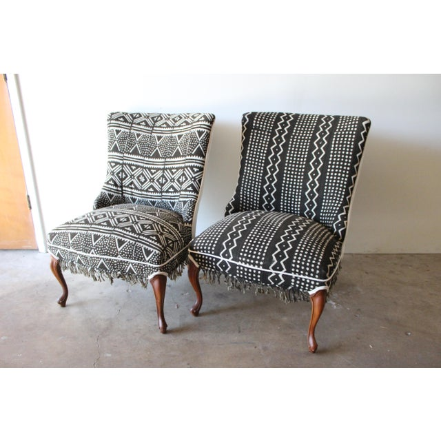 Vintage African Mudcloth Chairs - A Pair - Image 2 of 9