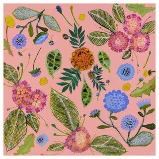 """""""Wildflowers Pincushions"""" Kenneth Ludwig Chicago Contemporary Canvas Art by Eli Hilpin For Sale"""