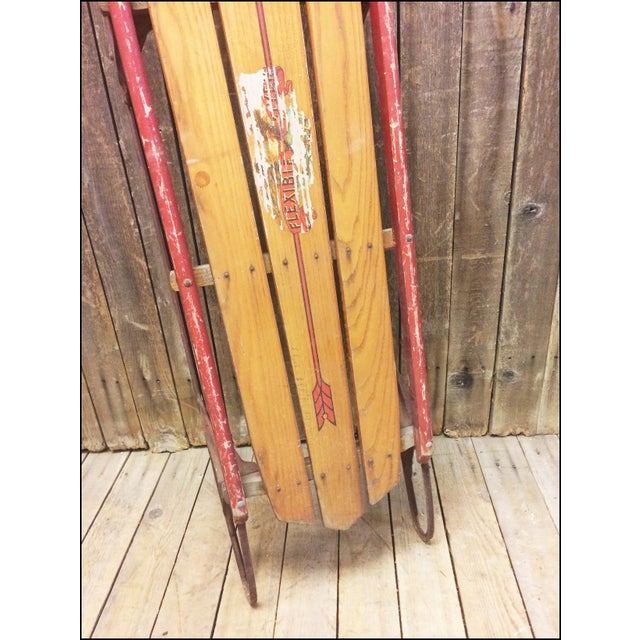 Vintage Weathered Wood & Metal Runner Sled - Image 5 of 11