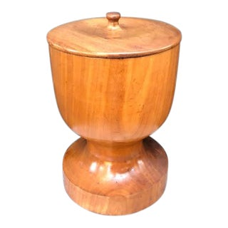 Tropical Wood Hand-Carved Heavy Wooden Pedestal Bowl With Lid For Sale