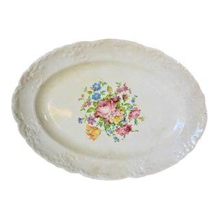 Vintage Cottage Style 1940's Floral Ceramic Platter For Sale