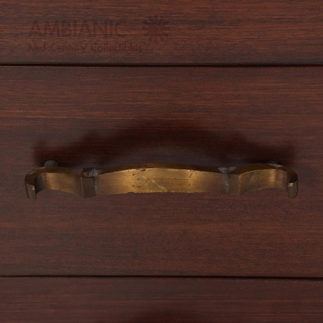 Art Deco Mexican Modernist Mahogany and Bronze Credenza Dresser Attributed Arturo Pani For Sale - Image 3 of 10