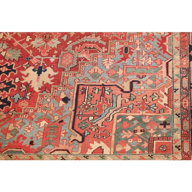 Room Size Antique Persian Heriz Geometric Rug - 11′ × 14′5″ For Sale - Image 9 of 13