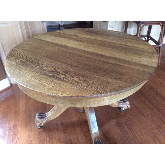 Antique Claw Foot Dining Table & 4 Chairs - Image 5 of 11