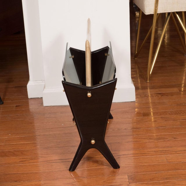 Mid-Century Modern Vintage Goatskin and Lacquered Wood Magazine Rack For Sale - Image 3 of 5