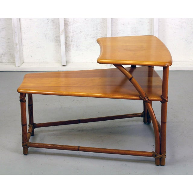 Danish Modern Heywood-Wakefield TwoTiered Wedge Shaped End Table For Sale - Image 3 of 6