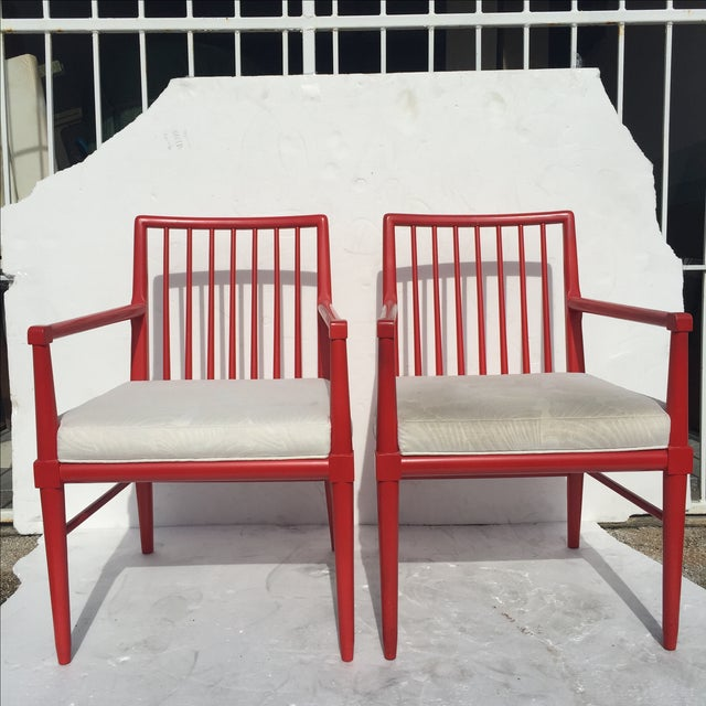 Mid-Century Modern Robsjohn Gibbings Style Armchairs - A Pair For Sale - Image 3 of 8