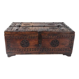 Anglo-Indian Carved Wood Desk Box For Sale