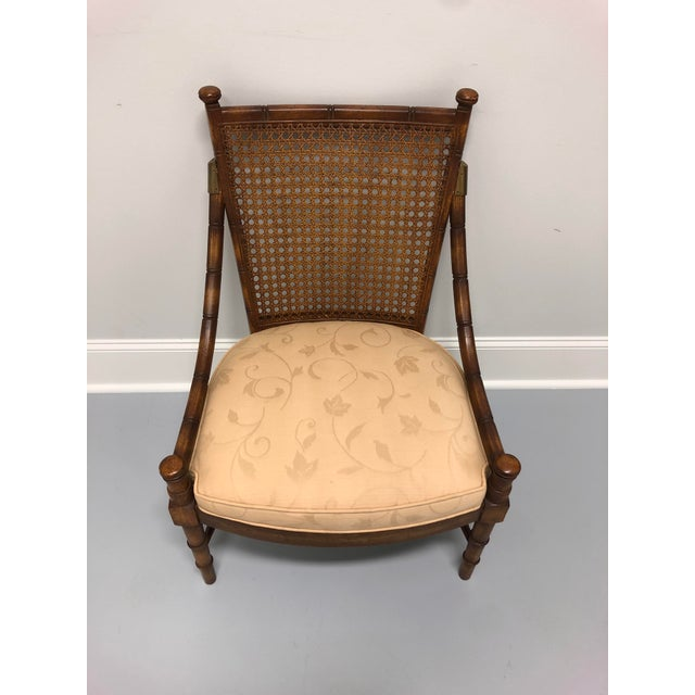 Mid-Century Modern Vintage Mid Century Faux Bamboo Caned Lounge Chair For Sale - Image 3 of 12