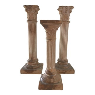 Vintage Mid-Century Italian Terracotta Corinthian Columns Candle Holders Candlesticks - Set of 3 For Sale