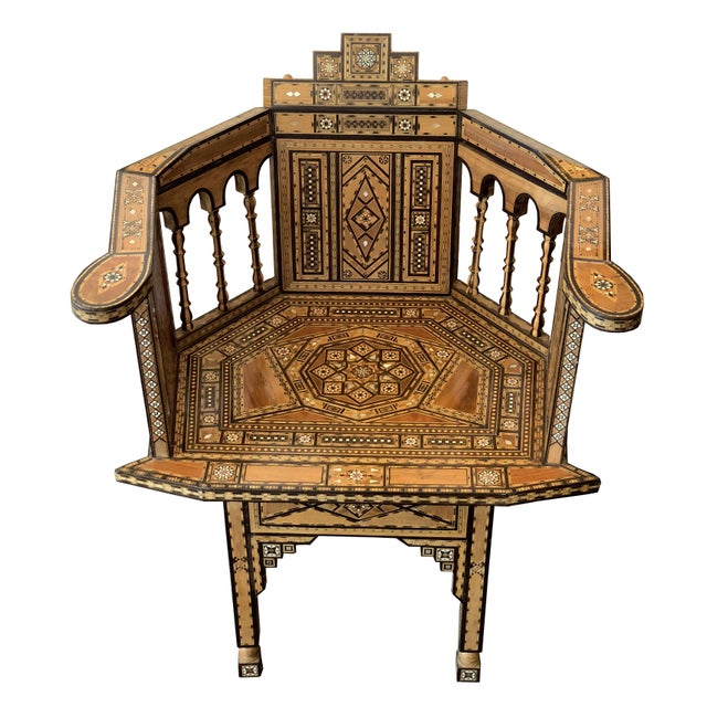 1940s Vintage Marquetry Vintage Hand Crafted Moorish Style Chair For Sale - Image 9 of 9